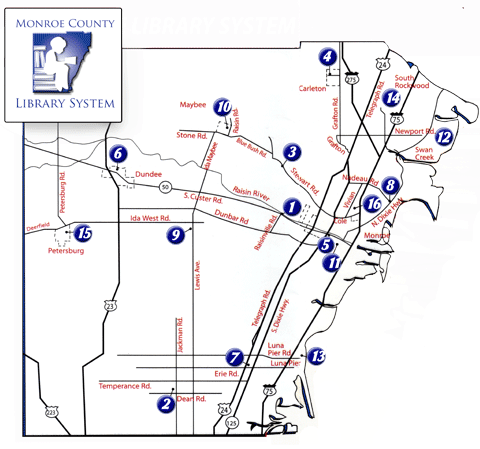 map of Monroe County with branches marked