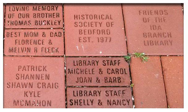 Memorial Bricks at the Bedford Branch Library