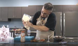 David Ross baking in a kitchen