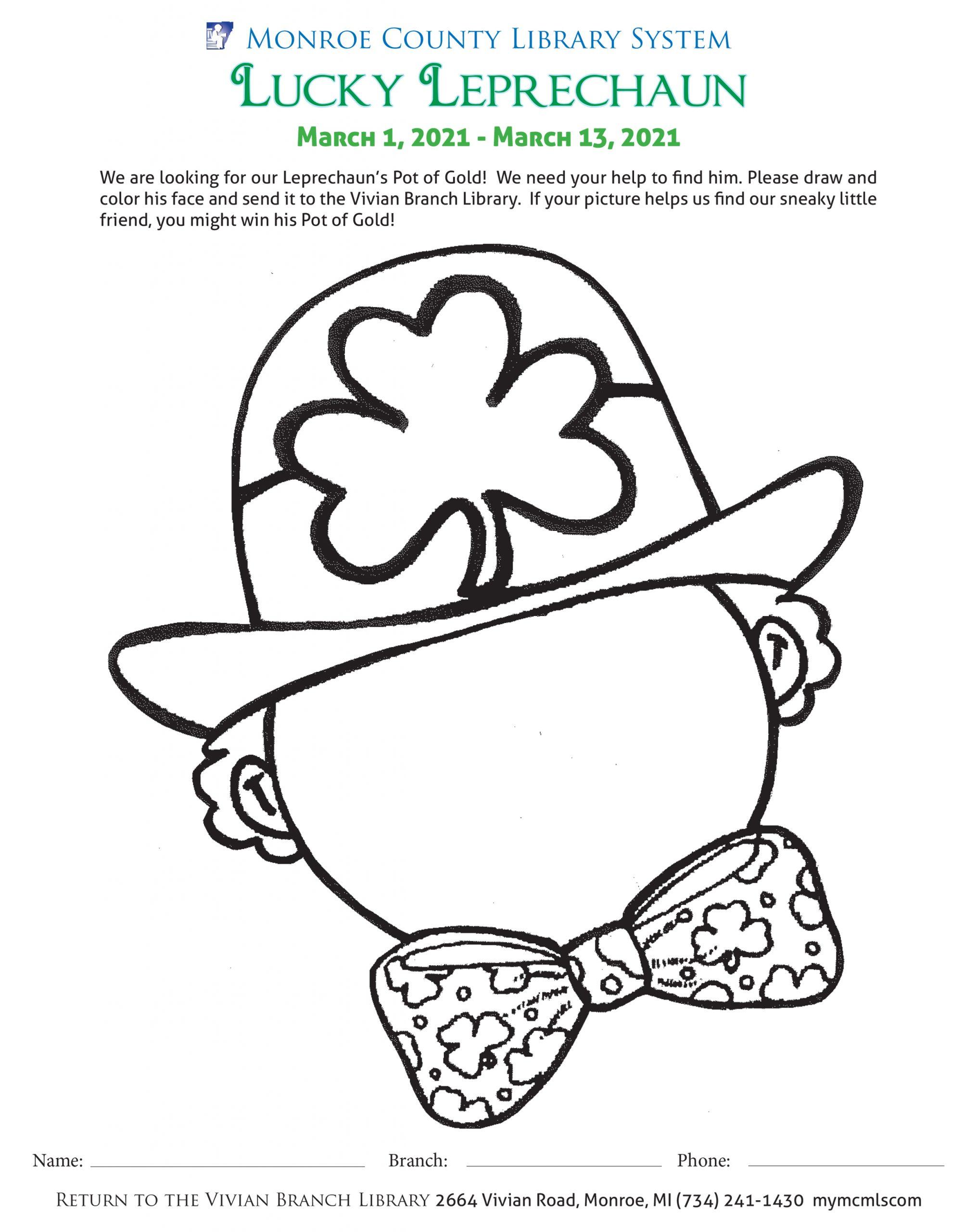 Leprechaun coloring sheet