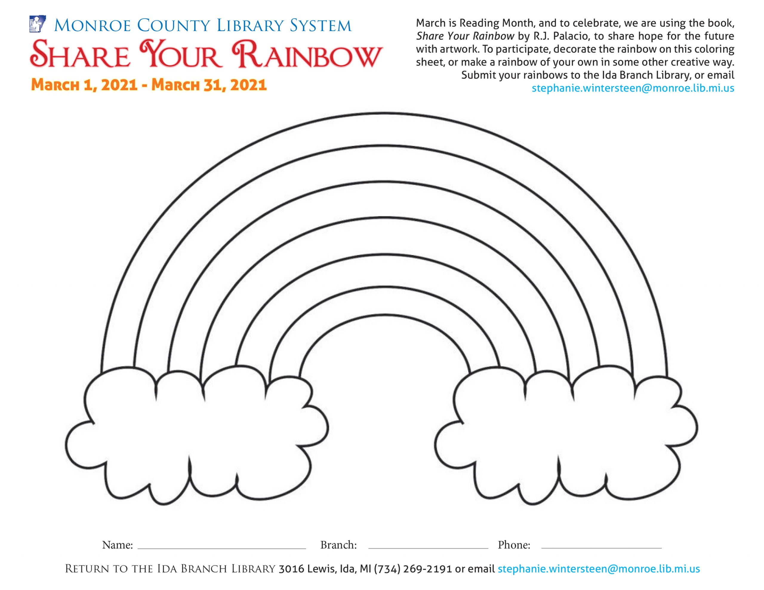 Rainbow coloring sheet