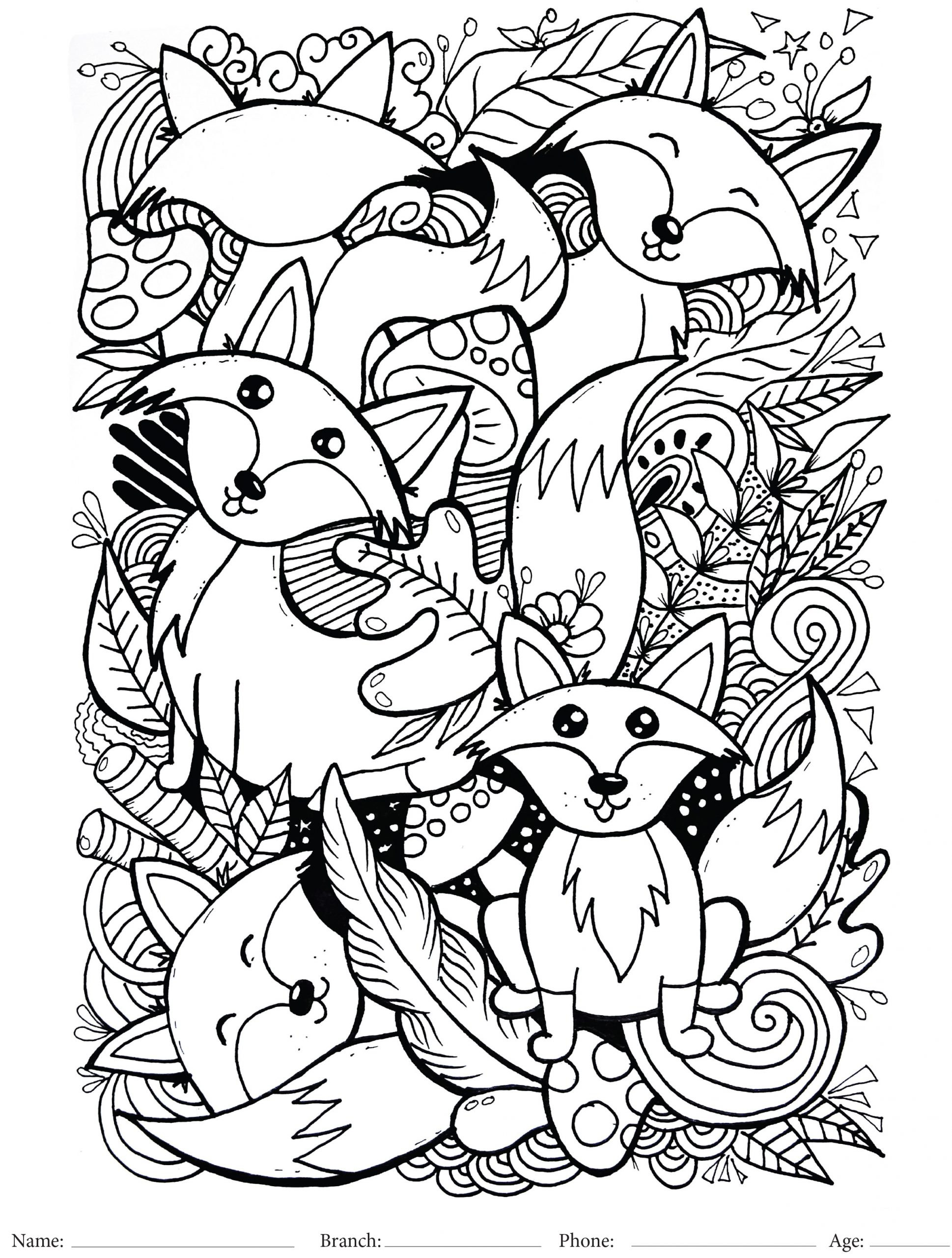 Fox spring coloring sheet