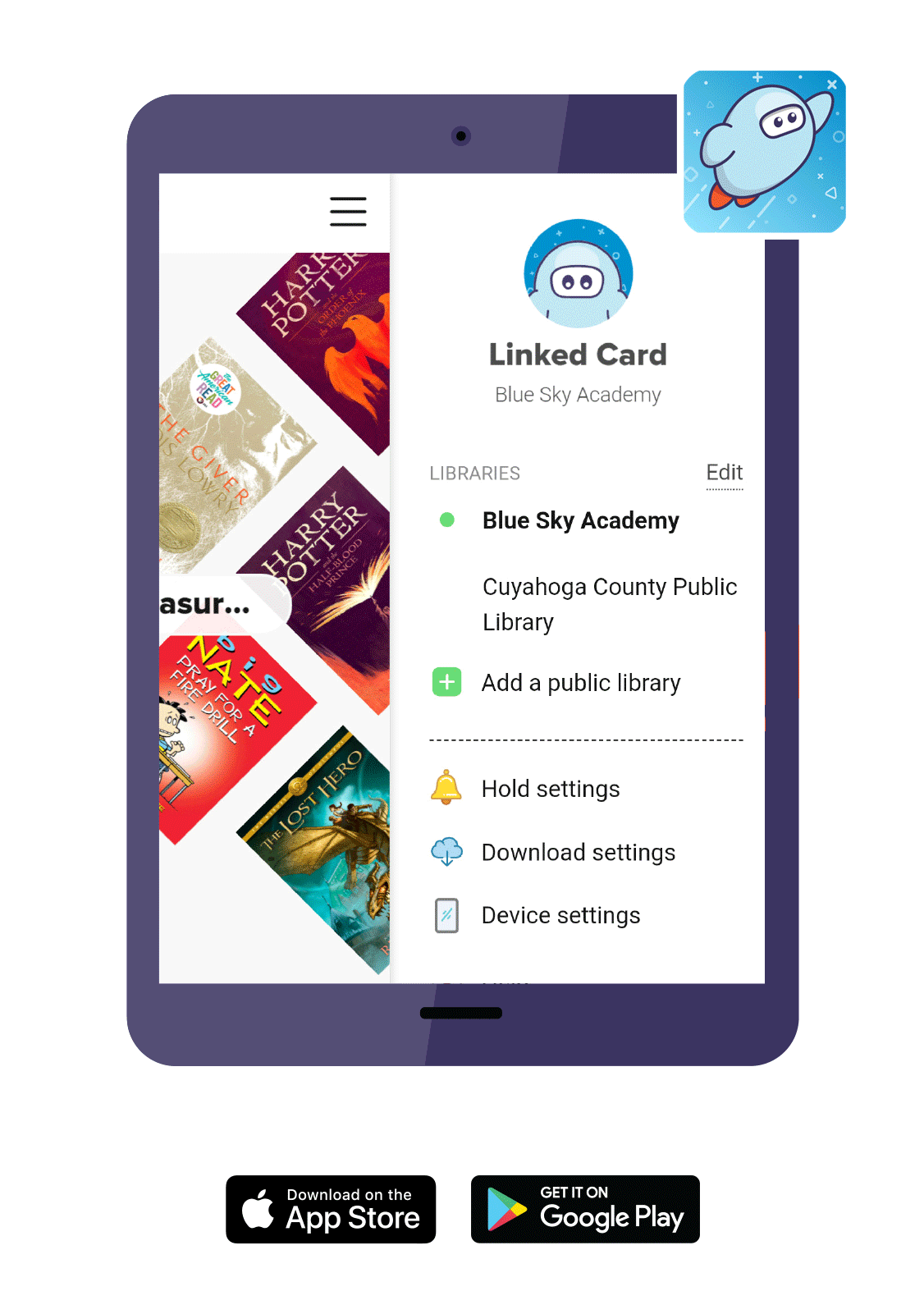 Tablet with the SORA app opened to a library eBook collection