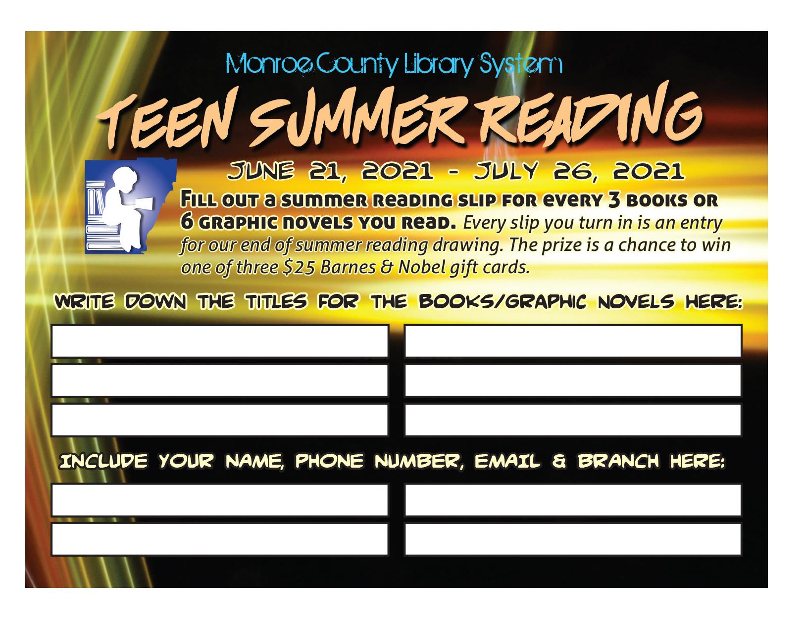 Teen Summer Reading form entry slip