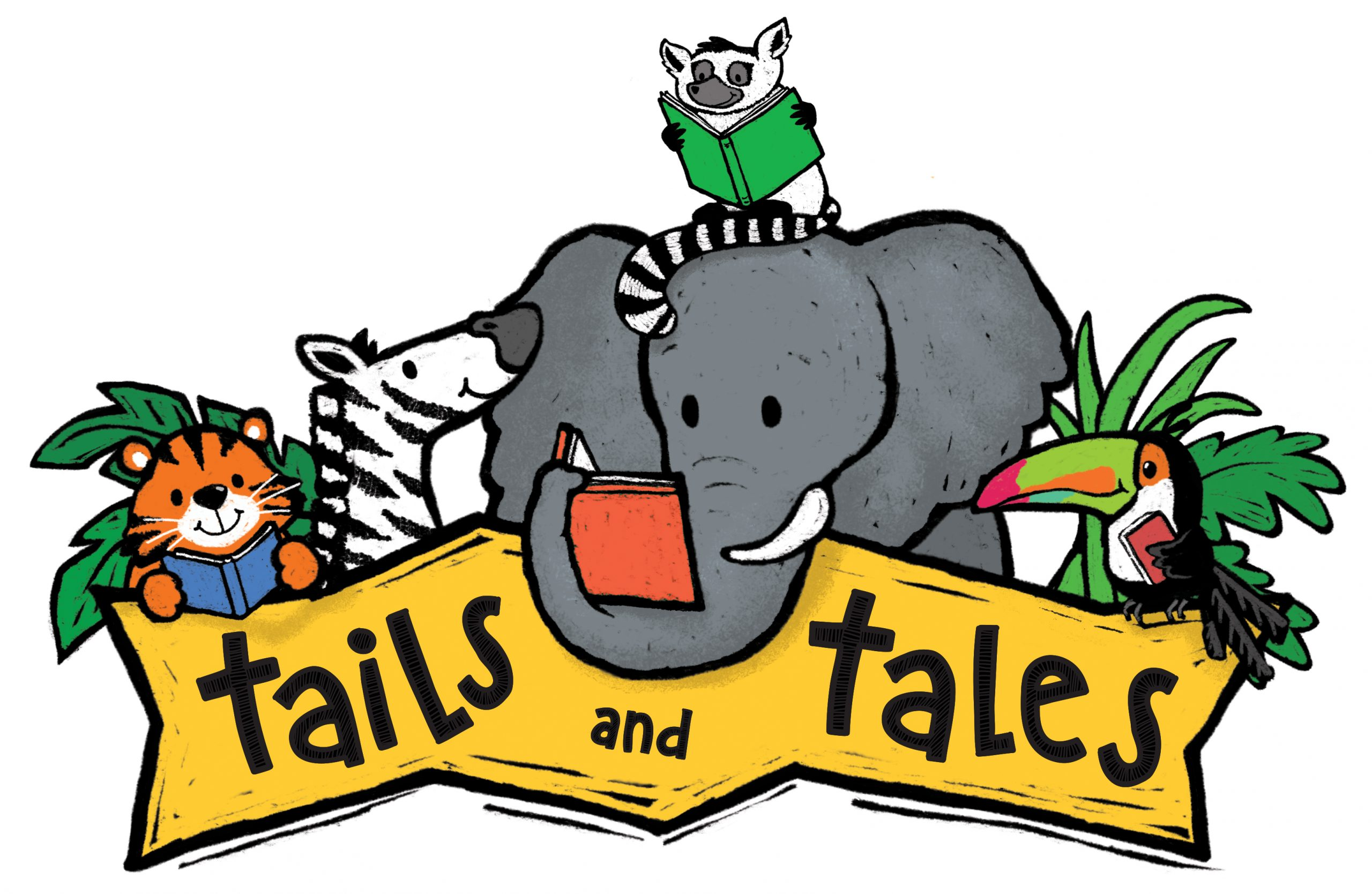 """An illustrated zebra, elephant, tiger, and other zoon animals reading above text """"Tails and Tales"""""""